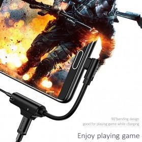 USAMS Adapter USB Type C to AUX 3.5mm Headphone + USB Type C - SJ248 - Black - 5