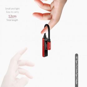 USAMS Adapter USB Type C to AUX 3.5mm Headphone + USB Type C - SJ248 - Black - 6