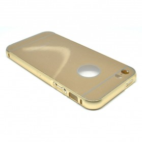 Ultra Thin Aluminium Metal Bumper Case Single Color with back cover for iPhone 5/5s/SE - Golden - 3