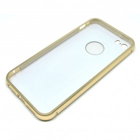 Ultra Thin Aluminium Metal Bumper Case Single Color with back cover for iPhone 5/5s/SE - Golden - 4