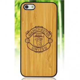 Bamboo Wood Case Manchester Motif for iPhone 6 Plus - Golden