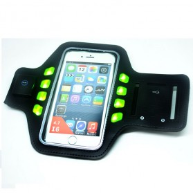 Sport Gym Running Armband with LED for Smartphone 4.7 Inch - Black/Green