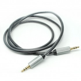 Kabel AUX 3.5mm HiFi 1 Meter - Black/Silver