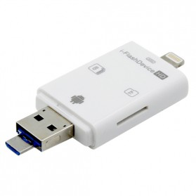 i-Flash Multifunction Device OTG Android USB Adapter with Card Reader Slot - White
