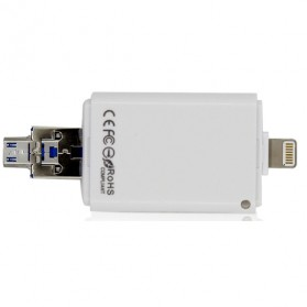 i-Flash Multifunction Device OTG Android USB Adapter with Card Reader Slot - White - 2