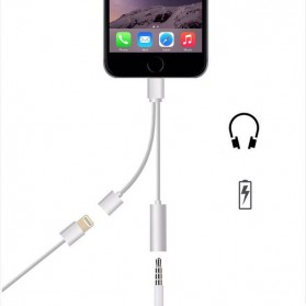 Adapter Lightning ke 3.5mm Headphone + Lightning for iPhone 7/8/X - Silver - 2