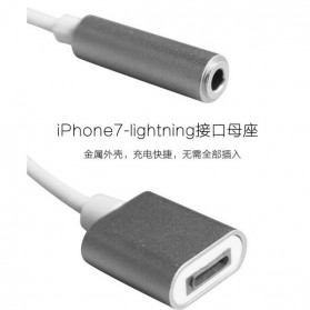 Adapter Lightning ke 3.5mm Headphone + Lightning for iPhone 7/8/X - Silver - 4
