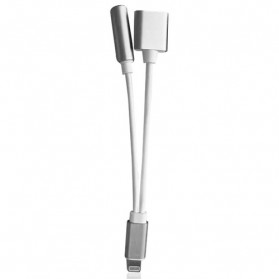Adapter Lightning ke 3.5mm Headphone + Lightning for iPhone 7/8/X - Silver - 5