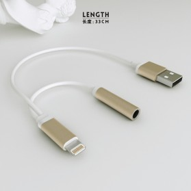 Adapter Lightning ke 3.5mm Headphone + USB Male for iPhone 7/8/X - Black - 2
