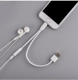 Adapter Lightning ke 3.5mm Headphone + USB Male for iPhone 7/8/X - Black - 5