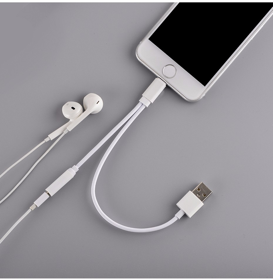 Adapter Lightning Ke 3.5mm Headphone + USB Male For IPhone