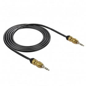 Kabel Audio Aux 3.5mm Gold Plated HiFi 2 Meter - AV117 - Black