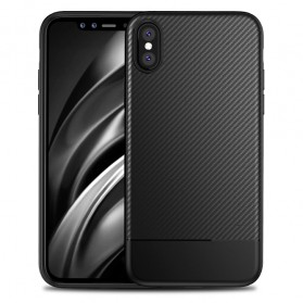 Solid Full Protective TPU Carbon Fiber Softcase for iPhone X - Black
