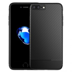 Solid Full Protective TPU Carbon Fiber Softcase for iPhone 7 Plus / 8 Plus - Black