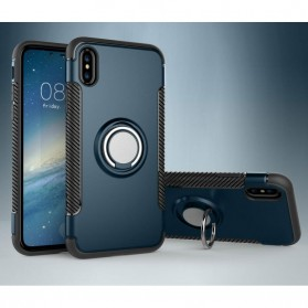 Armor Case with Ring Holder Magnetic for iPhone X - Black/Blue