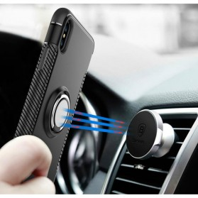 Armor Case with Ring Holder Magnetic for iPhone X - Black/Blue - 2