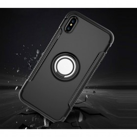 Armor Case with Ring Holder Magnetic for iPhone X - Black/Blue - 3