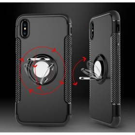 Armor Case with Ring Holder Magnetic for iPhone X - Black/Blue - 4