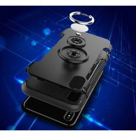 Armor Case with Ring Holder Magnetic for iPhone X - Black/Blue - 5