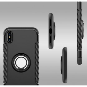 Armor Case with Ring Holder Magnetic for iPhone X - Black/Blue - 6