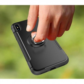 Armor Case with Ring Holder Magnetic for iPhone X - Black/Blue - 8