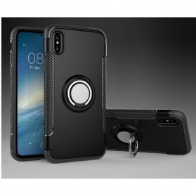 Armor Case with Ring Holder Magnetic for iPhone X - Black/Black