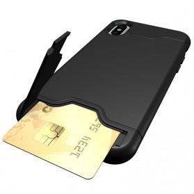 Smartphone Casing, Case, Hardcase, Softcase - Shockproof Armor Hardcase with Card Holder & Kickstand for iPhone X - Black