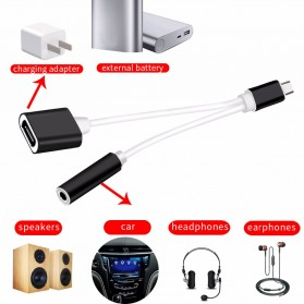 Robotsky Adapter 2 in 1 USB Type C to AUX 3.5mm Headphone + USB - USB Type C - S-K06 - Black - 6