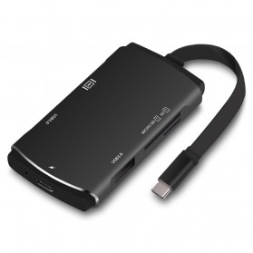USB Type C Hub PD Charging ke USB 3.0 + USB Type C + HDMI + Card Reader - Black