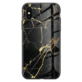 Marble Creative Pattern Hard Case for iPhone XS - 7456B - Black