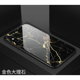 Marble Creative Pattern Hard Case for iPhone XS - 7456B - Black - 3