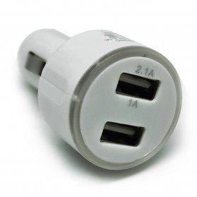 Dual USB Car Charger iPhone, iPod, HTC with Light Ring - SP009 - White