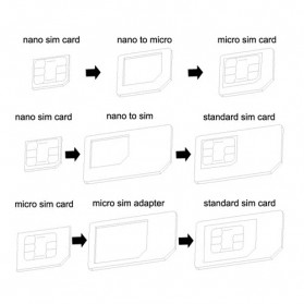 3 in 1 Nano SIM Adapter with SIM Card Tray Holder - 3