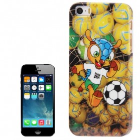 Football World Cup Mascot Pattern Smooth Plastic Case for iPhone 5/5s - Yellow