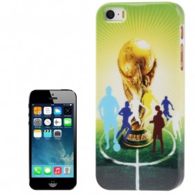 Football World Cup Pattern Smooth Plastic Case for iPhone 5/5s - Yellow
