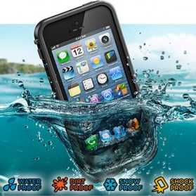 Casing Waterproof Ultra-slim untuk iPhone 5/5S/SE - Black - 1