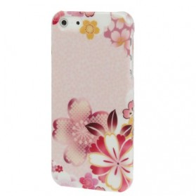 Floral Patterns Plastic Protective Case for iPhone 5 - White