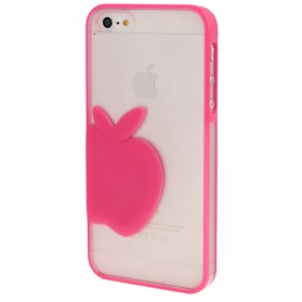 Emboss Apple Style Translucent Protective Case for iPhone 5 & 5S - Magenta
