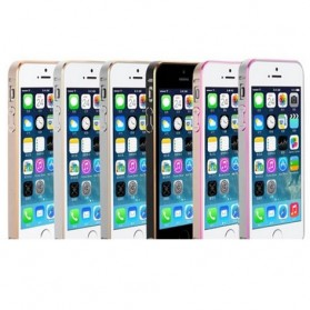Ultra Thin Aluminium Metal Bumper Case Dual Color for iPhone 5/5s/SE - Golden/Pink