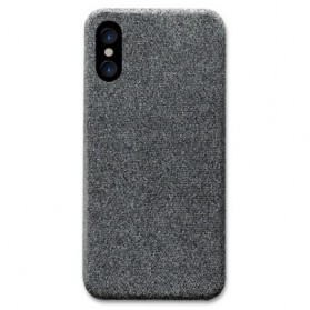 SoCouple Cloth Tekstur TPU Softcase for iPhone X - Gray - 1