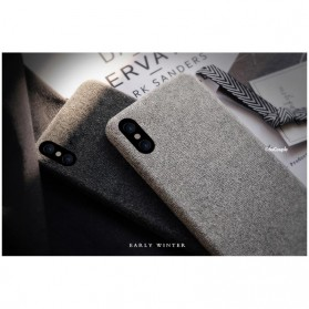 SoCouple Cloth Tekstur TPU Softcase for iPhone X - Gray - 5