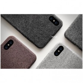 SoCouple Cloth Tekstur TPU Softcase for iPhone X - Gray - 6