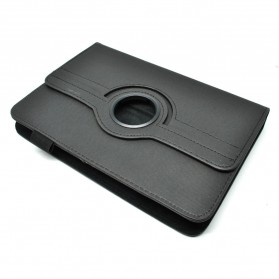 Denim Round Texture 360 Degree Rotation Universal Tablet Leather Case with Holder for 7.0 - 8.0 inch Tablet PC - Black