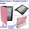 3 in 1 Smart Cover + Frosted Crystal Case + Holder for New iPad (iPad 3) / iPad 2 - Pink