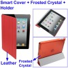 3 in 1 Smart Cover + Frosted Crystal Case + Holder for New iPad (iPad 3) / iPad 2 - Red