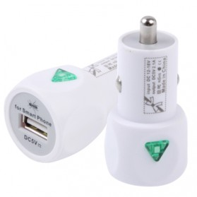 USB Mini Car Charger with Power Switch for iPhone 5/5s/SE / iPhone 4/4S / iPad 3 / iPad 2 / iPod, Output: DC 5V / 2.1A - White - 1