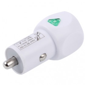 USB Mini Car Charger with Power Switch for iPhone 5/5s/SE / iPhone 4/4S / iPad 3 / iPad 2 / iPod, Output: DC 5V / 2.1A - White - 3