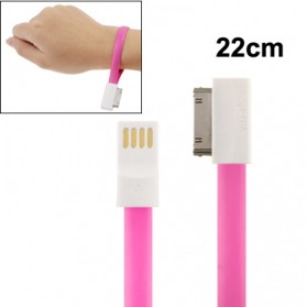 Pure Color Noodle Bracelet Style Magnet USB to Dock Cable for iPhone 4 & 4S, Length: 22cm - Magenta