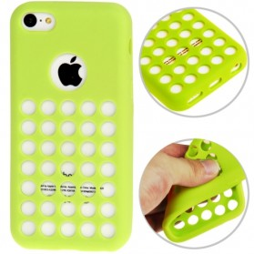 Hollow Dot TPU Case for iPhone 5C - Green