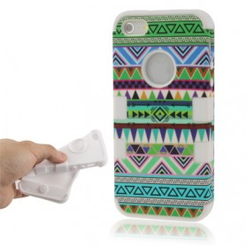 Aztec Tribal Tribe Pattern Retro Vintage 2 in 1 Plastic + Silicon Combination Case for iPhone 5 & 5S - Green